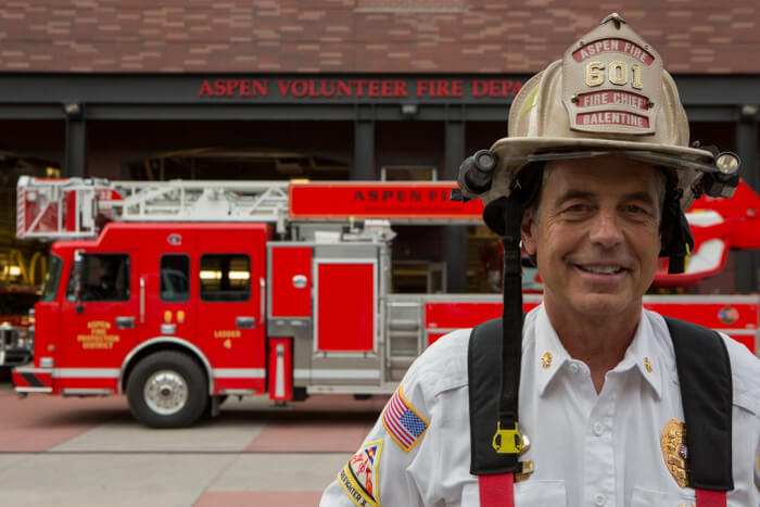 Chief Balentine in front of the Aspen Fire Department